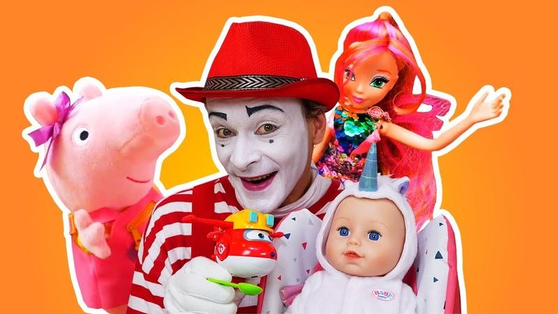 Baby Born visita a Peppa Pig, Barbie e as Winx! -Vídeo com brinquedos para crianças - Como mamãe