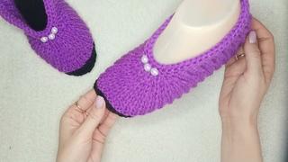 Очень простые туфельки-следки на двух спицах.
