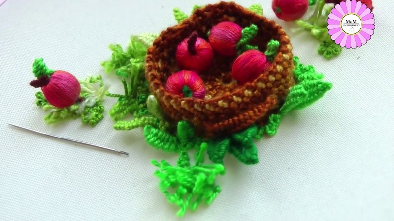 Stump work How to embroider an apple basket