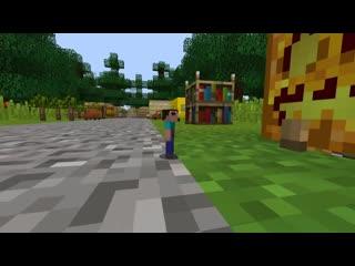 Мир уменьшился 2 Нуба в 1 блок построили дом в Тыкве в Майнкрафт !