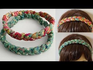 DIY Beautiful Wide Elastic Chunky Braided Headband  | How to Make 3 strand Plait Fabric Hairband