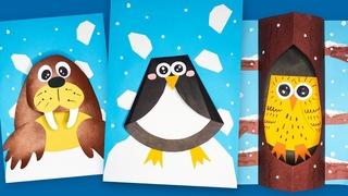 ОБЪЕМНЫЕ АППЛИКАЦИИ из цветной бумаги: Пингвин / Сова / Морж