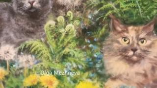Портрет кошек пастелью по фото