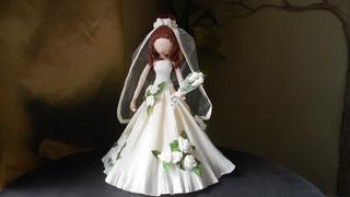Кукла Невеста из гофрированной бумаги.  Doll Bride from crepe paper. DIY Master Class