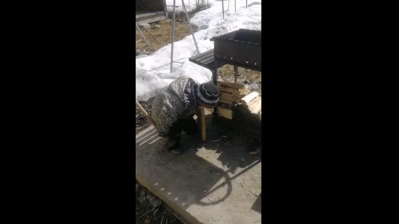 Макс рубит дрова