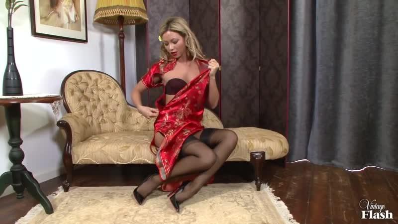 Natalia Forrest Silky Oriental temptress Nylon stocking tease