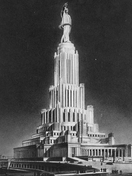 Проект Дворца Советов. Высота здания, согласно плану, должна была составить 415 метров. Вершиной монументального дворца должна была стать 100-метровая статуя Ленина.