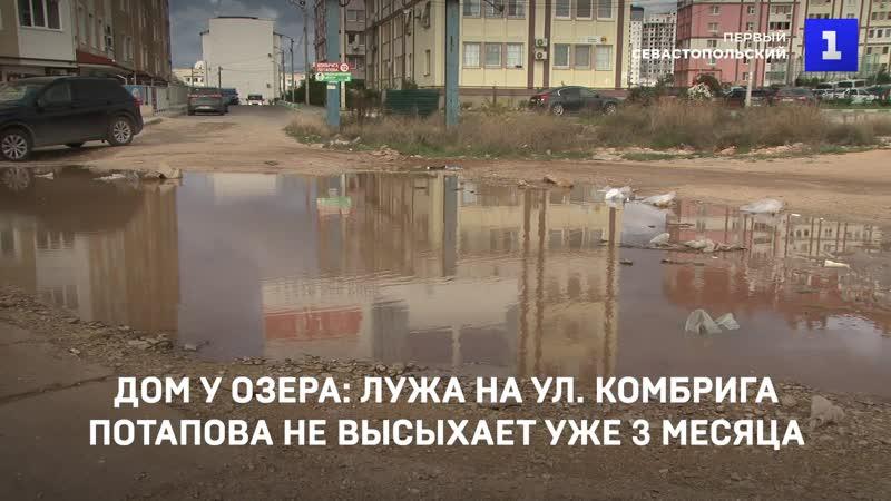 Дом у озера лужа на ул Комбрига Потапова не высыхает уже 3 месяца
