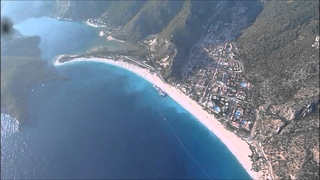 Paragliding from the Bagadad to the beach at Ulu Deniz, including the dreaded spin.