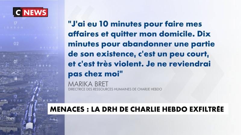 Menaces la DRH de Charlie Hebdo exfiltrée de chez elle
