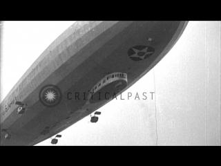 Uss los angeles (zrs-3) airship landing at naval air station, lakehurst, new stock footage