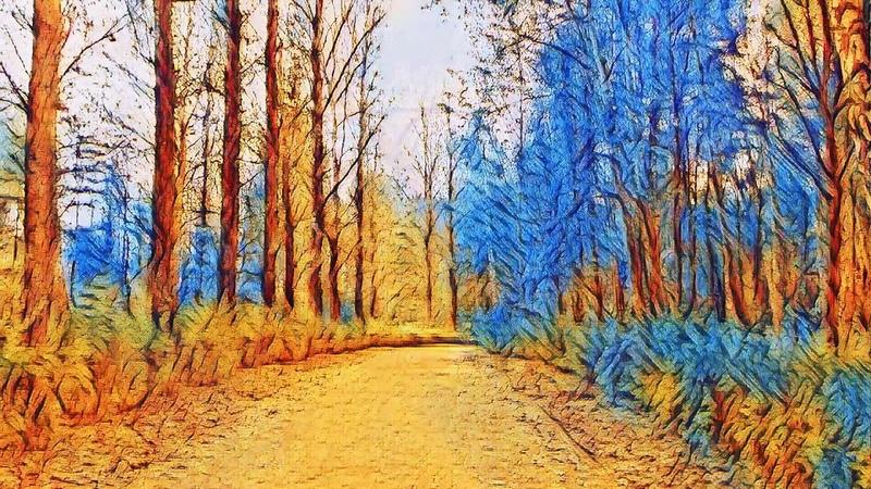 Осень в стиле художника Винсента Ван Гога.