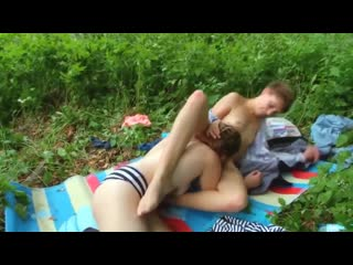 Lesbians with hairy pussies caress and fuck in nature