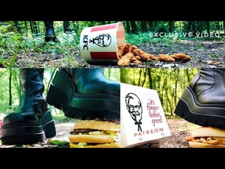 boots crushing junk food (McDonald's and KFC) in the woods. Outdoor food crushing