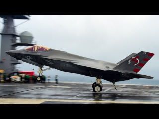 F-35C Carrier Landing in Hurricane Weather - Slow-Mo