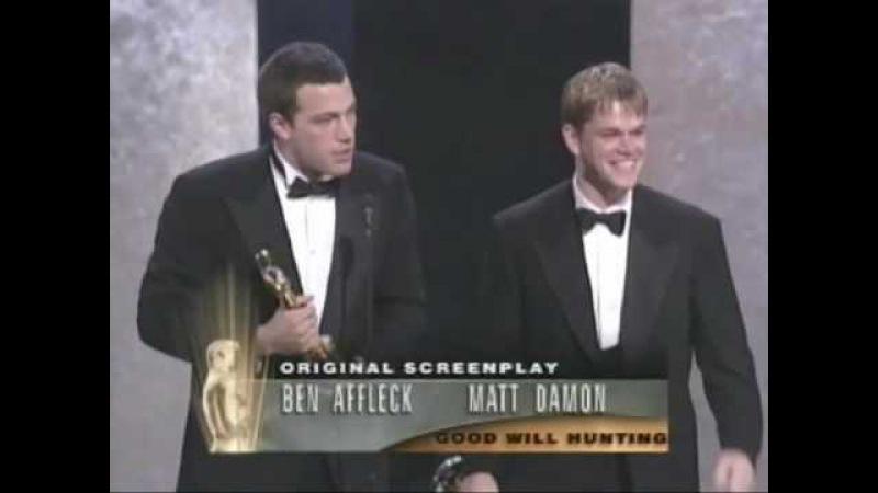 Ben Affleck and Matt Damon Win Original Screenplay 1997 Oscars