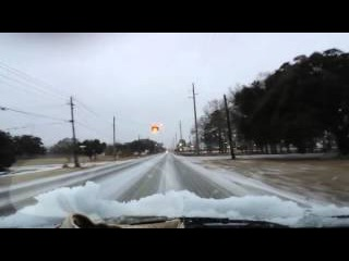 Driving in Mobile Alabama (Semmes) snow/ice. Rare.