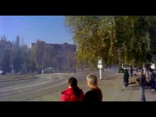 Енакиево. Колона брони техники передвигается по Вотутино