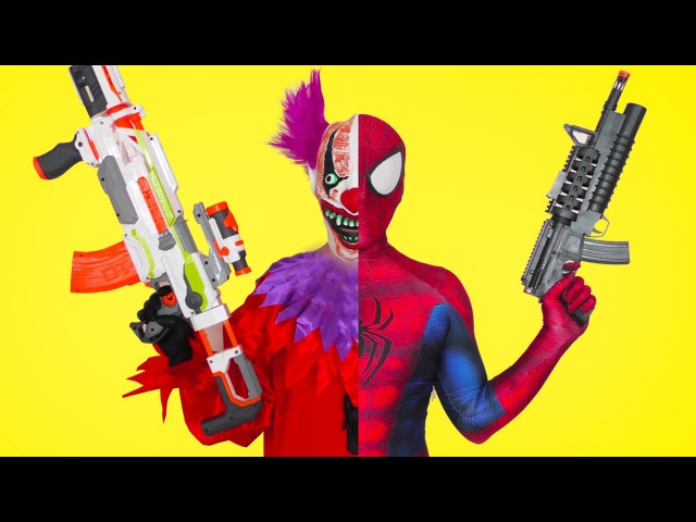 Spiderman vs Killer SCARY CLOWN w/ A lot of Coca-Colla Superheroes in real life