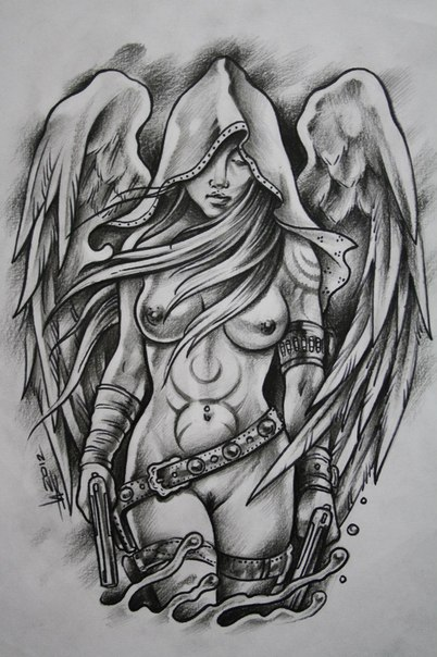 Beckham's blazing angel tattoo