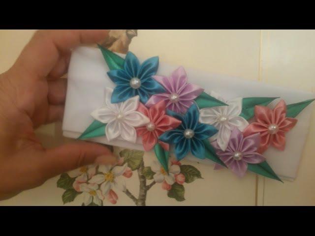 DIY Kanzashi / Канзаши цветы на павязке интересный лепесток