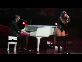 Demi Lovato and Nick Jonas performing Stone Cold on 7/12/16 on the Future Now Tour at the Prudential Center