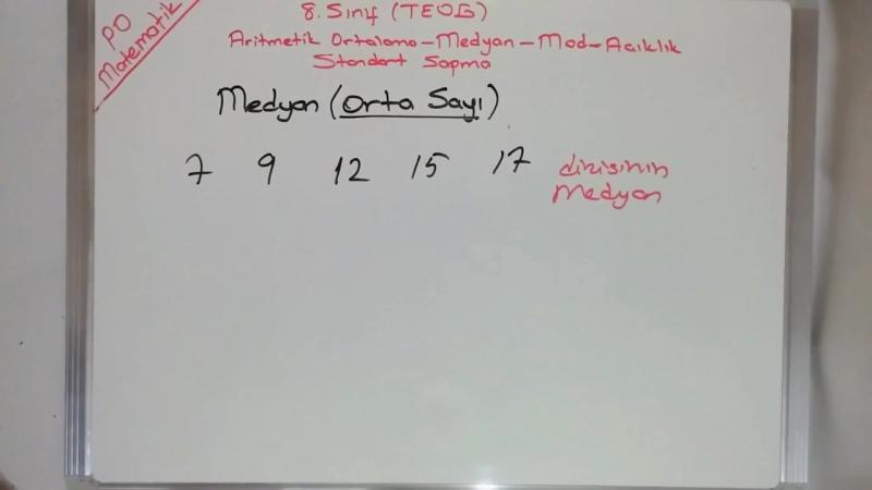 8. Sınıf TEOG Aritmetik Ortalama Mod Medyan Açıklık Konu Anlatımı