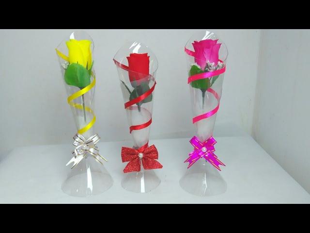 Vaso de garrafa pet Use como lembrancinha decoração Reciclagem de garrafa pet 💗 Artesanato