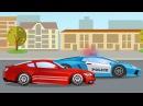 Мультики про машинки Гоночные машины на дороге в городе Монстр Трак и Полиция Му