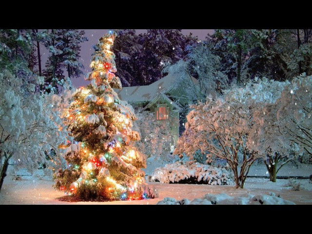 🎄 Breathtaking Christmas Scene Snowfall Animation ~ 21 Songs