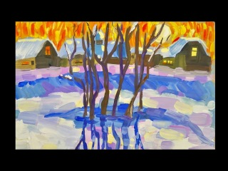 Как нарисовать зимний пейзаж красками? урок рисования для детей от 5 лет