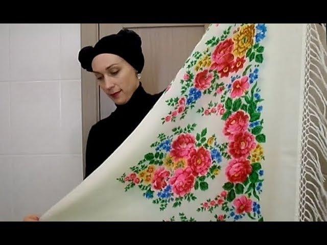 Павловопосадский платок (шаль) НА ШЕЕ/ГРУДИ - 7 идей как носить расписной платок под куртку/пальто