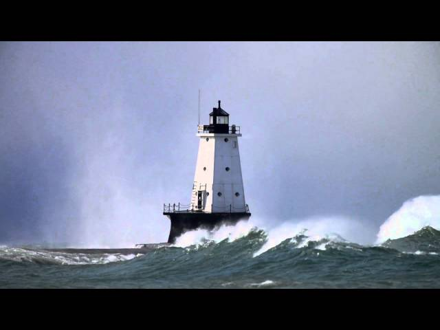 Waves Over Ludington Lighthouse on 10/31/14