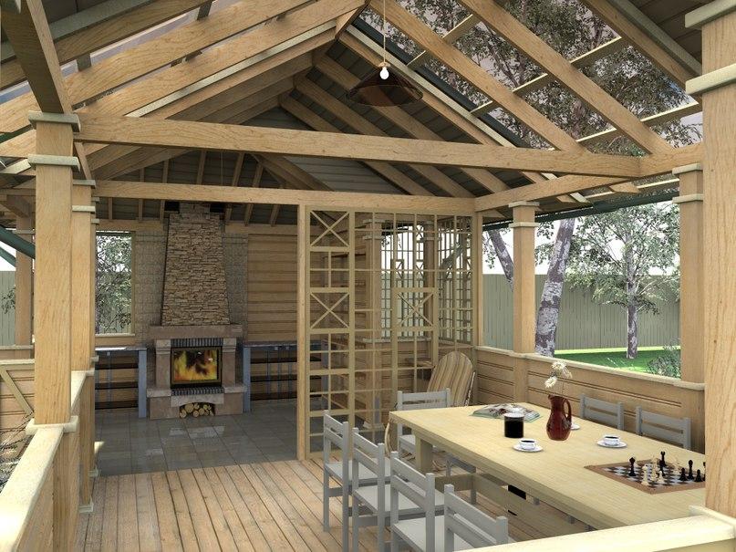 Летняя кухня из бревна для дачи: функциональное сооружение, изображение №7