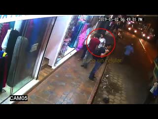 Cell phone thief gets instant karma