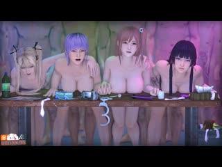 Marie rose, ayane, honoka and nyotengu sfm (dead or alive sex)