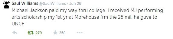 Твит одного из студентов, чье обучение Джексон спонсировал через UNCF
