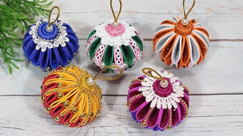 Diy christmas ornaments with glitter balls DBB