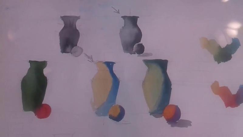 Цветоведение в акварели Упражнение на свет и тень Колористика
