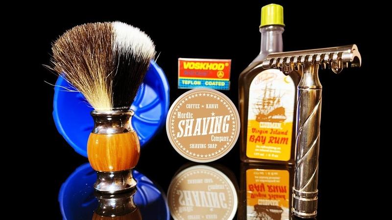 💈 Бритье Т-образным станком Schöne, DScosmetic, Nordic Shaving Coffee, Clubman Bay Rum