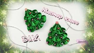 Ёлочка  - заколка из лент КАНЗАШИ/  DIY Christmas Tree hair-pin from ribbons