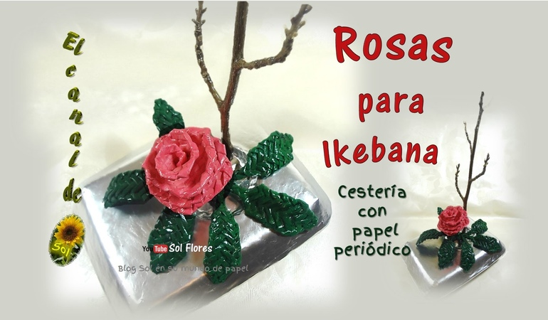 Rosas cestería con papel periódico basketry roses with newspaper