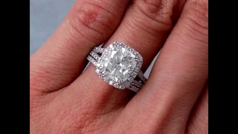 3.69 ctw Engagement Ring and Wedding Band Set - BigDiamondsUSA
