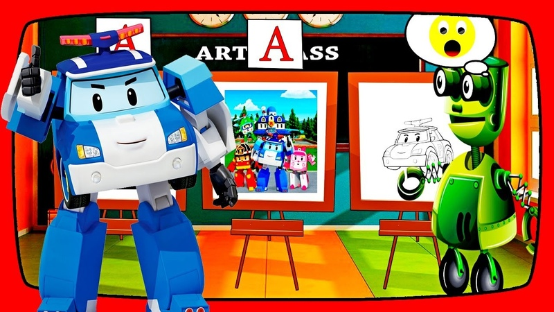 4 Cartoon of Kids ROBOT Transformer , Videos for children about school and drawing lessons