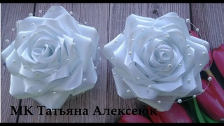 Школьные банты розы из атласных лент 4 см . МК Канзаши / Beautiful bows of satin ribbons