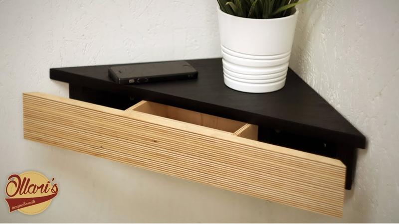 Modern Corner Shelf with Hidden Drawer and Secret Compartment