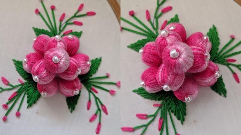 Beautiful Hand Embroidery 3d Flower Design stitch idea 2020 Hand Embroidery Stump Work Design