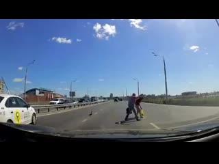 Пешеходы помогли перейти дорогу утке на ... в Казани (360p).mp4
