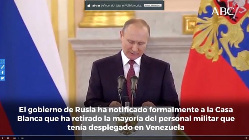 Rusia se retira de Venezuela y deja a Maduro en pelotas