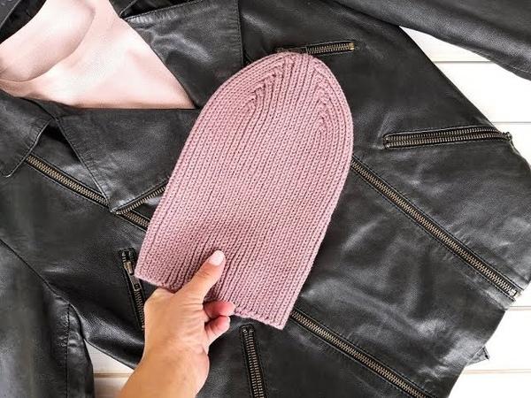 Вяжем модную шапку резинкой 1*1 с интересной макушкой